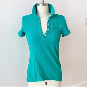 Lacoste Vintage Washed Teal Polo Size 34